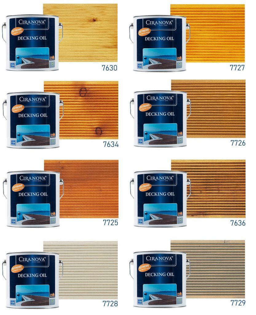Olej do drewna CIRANOVA Deckingoil - paleta kolorów